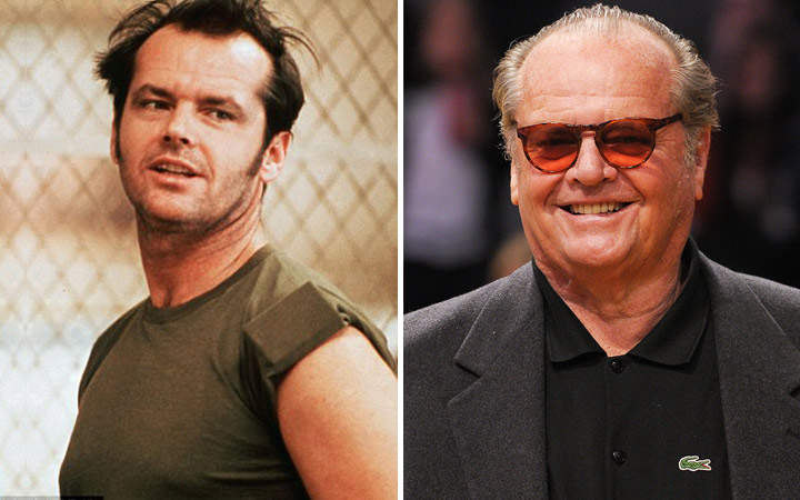 Jack Nicholson then and now