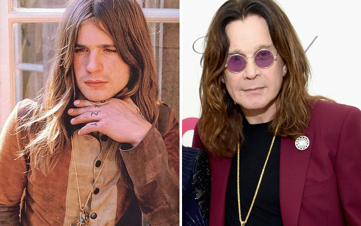 Ozzy Osbourne then and now